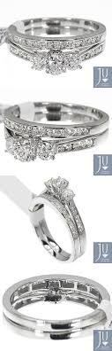 Diamond 14K White Gold La s 3 Stone Diamond Engagement
