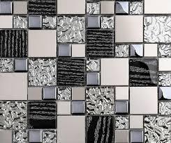 silver metal mosaic stainless steel tile kitchen backsplash wall