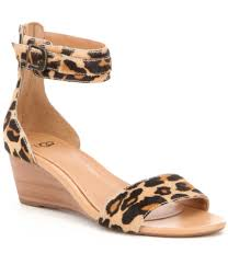 ugg char leopard calf hair wedge sandals dillards