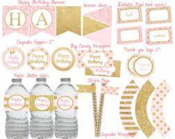 Pink And Gold Birthday Themes by Pink And Gold Party Etsy