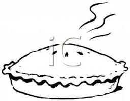 Steaming Pie In Black And White Clip Art Image