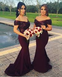 2017 new burgundy off shoulders bridesmaid dresses sequins bodice