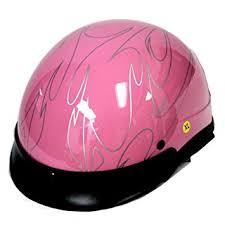 Motorcycle Street Bike Scooter Half Face Vespa Helmet Flame Pink