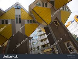 100 Cube House Design Rotterdam Netherlandsaugust 22 Yellow Shapes Stock