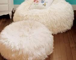 Indoor Bean Bag Faux Fur Shaggy White Beanbag