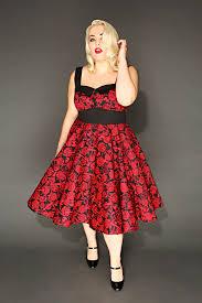 hell bunny red u0026 black rose u0026 skull print 50 u0027s style dress