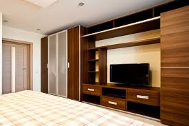 Bedroom Wardrobe Designs With Tv Unit bedroom plaid bedding and