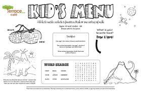 Kids Menu Kid Designs Templates