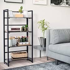 ribelli standregal im industrie design bücherregal klappregal regal mit 4 ablagen multifunktionales küchenregal schnelle montage für wohnzimmer