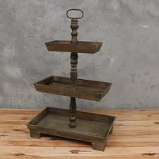 3 Tier Rustic Wooden Rectangle Cake Stand