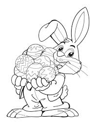 Free Easter Coloring Pages At SheKnows An Bunny Holding A Bunch Of Decorated Eggs