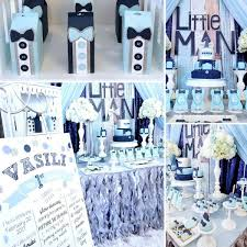 Blue And Silver Little Mans First Celebration Baby Shower Ideas