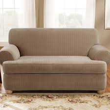 sure fit stretch pinstripe t cushion two piece sofa slipcover