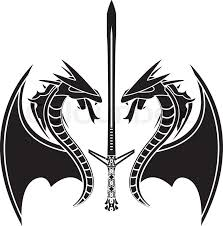 Flying Dragons And Sword Vector Illustration