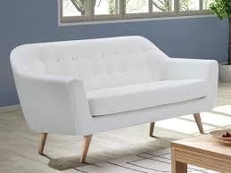 canapé 2 places en simili coloris blanc caroline