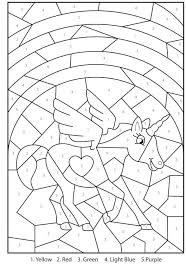 Free Printable Magical Unicorn Color By Numbers Visit Site Version Coloring Pages Christmas Ornaments For Adults