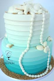 Ombre Beachy Wedding Cake With Pearls And Shells