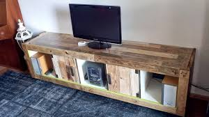 Reclaimed Wood Pallets Tv Stand With Versatile Expendit Bookshelf And Particular Wooden Hacked Also Simple Rustic Designs Led Lights Fixtures