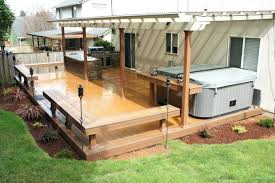 Cheap Patio Bar Ideas by Deck With Built In Benches Table By The Tub Outdoor Patio Bar