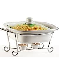 Circleware Ceramic Cookware Chafer Buffet Server Warmer Baker Serving Tray With Glass Lid And Metal Stand