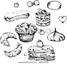 Pastries sweets baked goods desserts Pattern with hand drawn elements Menu