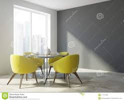 Yellow Chair Dining Room Interior, Gray Wall Stock ... For Glass Room Chair Vico Set Ding Gloss And Round Chairs Nottingham Rustic Solid Wood Black Table Diy End Tables With Funky Fresh Designs Small Living Large Round Swivel Chair In Lisvane Cardiff Gumtree Rh Homepage Swivel Amazon Rocker Arm Modern Interior Of Modern Ding Room With White Walls Wooden Floor Ikea Eaging Ideas Decor Extra Lighting Oversized Relaxing In Front Of Fniturebox Uk Vogue Circular Chrome Metal Clear 6 Seater Lorenzo 4 Fniture
