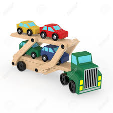 100 Toy Car Carrier Truck Wooden Coloured S Rier Trailer On A White Background