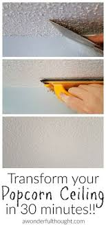 scrape off that ugly popcorn ceiling and catch it in a bag with