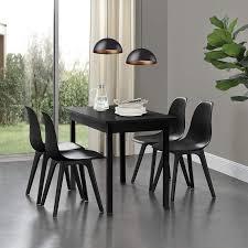 en casa 4x design stühle 83 x 54 x 48cm schwarz esszimmer stuhl stühle kunststoff skandinavisch mit bodenschoner