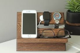 Mens Dresser Valet Charging Station by Apple Watch Charger Valet Night Stand Oak Wood Valet Iphone