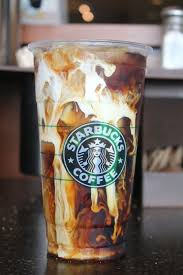Iced Coffee With Shots Of Espresso Cream A Caramel Drizzle Down The Inside
