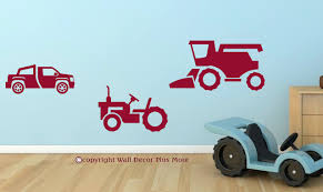 Boys Farm Wall Stickers Set Of 3 - Combine, Tractor, Truck Cars Wall Decals Best Vinyl Decal Monster Truck Garage Decor Cstruction For Boys Fire Truck Wall Decal Department Art Custom Sticker Dump Xxl Nursery Kids Rooms Boy Room Fire Xl Trucks Stickers Elitflat Plane Car Etsy Murals Theme Ideas Racing Art