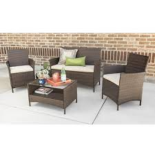 Bjs Outdoor Furniture Cushions by W Trends 4 Pc Simple Rattan Patio Chat Set Brown Bj U0027s