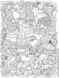 Coffee Hearts Flower Blume Fleur Fiore Flor Kvetina Blomma Coloring Page Printable Adults Prontable