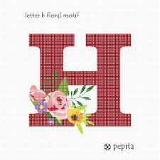 Needlepoint Canvas Letter H Floral Motif