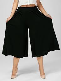 bottoms black 6xl palazzo wide leg plus size capri pants gamiss
