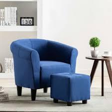 2 tlg sessel hocker set stoff blau