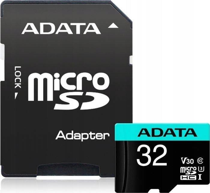 ADATA Premier Pro V30S MicroSDHC 32 GB Memory Card with MicroSD to SD Adapter - A2/Video Class V30/UHS-I U3/Class 10