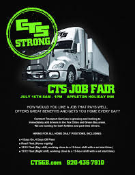 100 Part Time Trucking Jobs July 16th CTS Job Fair Hiring CDL Class A Drivers Immediately