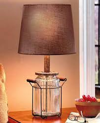 Jar Table Lamp Vintage Country Decor Glass Metal With Shade Unbranded VintageCountry