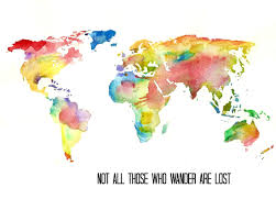 Watercolor World Map Art Print Tolkien Quote Illustration