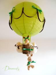 le montgolfière forêt lapin vert anis et marron chocolat