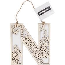 Wooden Filigree Hanging Letter N 13Cm Hobbycraft
