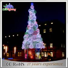Metal Frame Giant Christmas Tree White Red Ball LED Light Ce RoHS Outdoor Lighted Trees