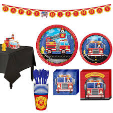 100 Fire Truck Birthday Party Basic Kit For 8 Guests