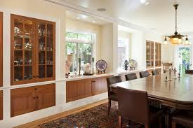 Built In China Dining Room Traditional With Wood Cabinets Cotton Curtains And Drapes