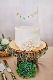 Small Wedding Cake Succulent Wooden Stand Rustic
