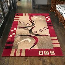 details zu teppich modern in rot wohnzimmer flur kurzflor 80x150 200x300 300x400