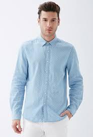 forever 21 polka dot chambray shirt in blue for men lyst