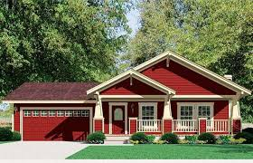 Craftsman Style Modular Homes With Red And Cream Wall Paint Color Combine Dark Roof Tile